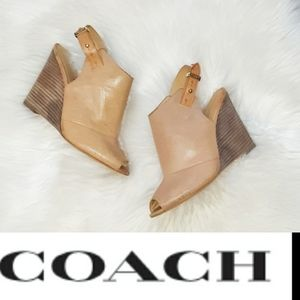Coach   Tan Leather Wedges